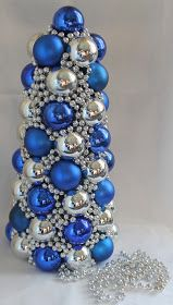 I love blue Christmas ornaments. BQS Thrifty Crafty Girl: 25 Days of Christmas - Ornament Tree 25 Days Of Christmas, Blue Christmas, Winter Christmas, Christmas Projects, Holiday Crafts, Holiday Fun, Christmas Ideas, Silver Christmas Decorations, Christmas Ornaments
