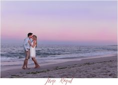 NJ weddings - Jersey shore engagement session at point pleasant beach. Emily wore a beautiful dress from Impressions boutique and Mike sported a Nautica button down shirth and Billabong shorts. Casual yet dressy engagement photos.