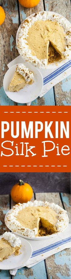 Pumpkin Silk Pie Recipe - Easy, no bake Pumpkin Silk Pie recipe has the silken creaminess of French silk pie, the tang of cheesecake, and the rich deliciousness of pumpkin. Make it in just 25 minutes!(Pumpkin No Bake Cheesecake) Easy Pie Recipes, Easy Cheesecake Recipes, Pumpkin Recipes, Dessert Recipes, Cooking Recipes, Just Desserts, Delicious Desserts, Baked Pumpkin, Pumpkin Pumpkin