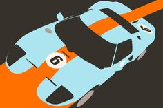 Orange Notch - Ford GT40 Race Car Art Print