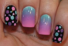 spots and gradient nail art