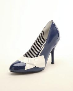 navy and white shoes