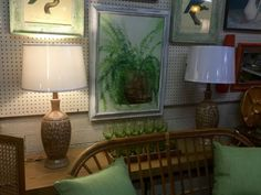 """Pretty Pair Mid Century Lamps   Wheat Motif   30"""" High   $145  Eclectic Treasures Booth #8279  Lula B's  1010 N. Riverfront Blvd. Dallas, TX 75207  Like us on Facebook: http://www.faceb"""