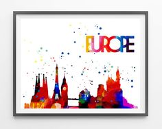 Europe Watercolor Print Europe skyline Monuments by MimiPrints