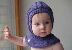 Wool Baby Hat / Hoodie, Purple Hat with Scarf, Knitted Bonnet with Neckwarmer, Balaclava hat, Baby Helmet,  6-12 Month