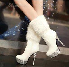 Beautiful High Heels Boots – Boot Heels – Ideas of Boot Heels - Kniehohe Stiefel High Heel Boots, Heeled Boots, Bootie Boots, Ankle Boots, Boot Heels, Ankle Heels, Platform Boots, White Boots, Sexy Boots