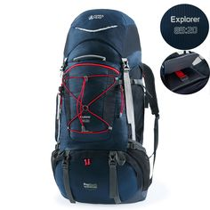Terra Peak 85L+20L Outdoor Sport Water-resistant Internal Frame Backpack Hiking backpack backpacking trekking bag with Rain Cover for Climbing,camping,hiking,travel and Mountaineering(Black,Navy) .best travel backpack.