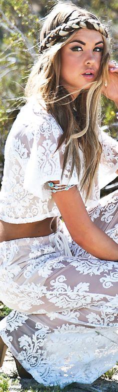 boho, white lace pants & top