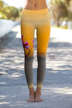 Sunset Frangipani Blossoms in Labuan Bajo - Printed Performance Leggings this site has the COOLEST yoga pants!