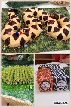 awesome snake cake that my mom made, snake grapes, and party favors