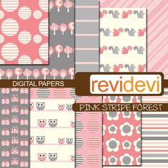 Digital Papers  Pink Stripe Forest 10032   Patterned by revidevi, $4.40