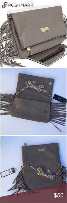 "✨HP💫BCBG Paris Fringe Leather Bag Studded side 5"" fringe convertible fold over cross body / clutch style bag, vegan taupe leather, gold-tone hardware, 11""x7"" open height 12.5"" zip top, magnetic closure , 2 inside  slip pockets, inside zip pocket , removable chain woven shoulder strap with 17"" drop, NWT (C2 BCBG Bags"