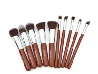 10 pcs coffee silver Pro Foundation blush Liquid brush Kabuki Makeup Brush Set Cosmetics Tool ZH1221ten eshow