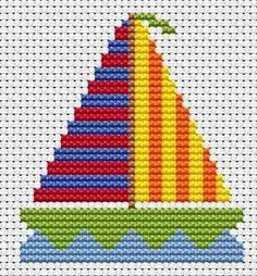 Sew Simple Yacht cross stitch kit from Fat Cat Cross Stitch Finished size approx x Kit contains white aida fabric, stranded embroide Cross Stitch For Kids, Simple Cross Stitch, Cross Stitch Baby, Cross Stitch Charts, Cross Stitch Designs, Cross Stitch Patterns, Cross Stitching, Cross Stitch Embroidery, Cross Stitch Finishing