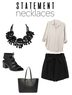 """""""Statement Necklace Contest: Shopping Day!"""" by jennalowenberg ❤ liked on Polyvore featuring L'Agence, 275 Central, Yves Saint Laurent and statementnecklaces"""