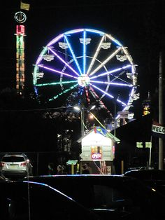 The ferris wheel at night, from the parking lot of the Whaler. Old Orchard Beach, Work Site, Ocean Park, July 24, Parking Lot, Taking Pictures, Ferris Wheel, Coastal, Wildlife