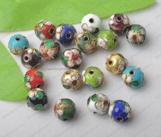 Mixed cloisonne Flowered Metal Round Spacer beads 6mm 8mm 10mm-16mm DIY FINDINGS