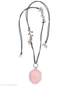 Very chic indeed when draped across your lovely décolletage. Quartz, Pink Soapstone, Pearl, Sterling Silver.