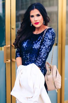 Modcloth dress, Chicwish coat, Louboutin heels, Chanel handbag, YSL lipstick. Holidays Outfit, Sequins dress, Fashion for women, Formal dress, Night short dress, blue sequins, Chanel Handbag, formal hairstyle. Emily Gemma, The Sweetest Thing Blog. #EmilyGemma #TheSweetestThingBlog