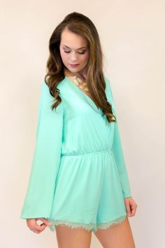 Don't Forget to Remember Me Romper- Mint