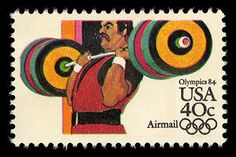 This stamp from the 1984 Summer Olympics series honors the weight lifting competitions.