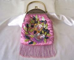 Vintage Pink Satin Sequin Handbag Beaded Cocktail by cynthiasattic