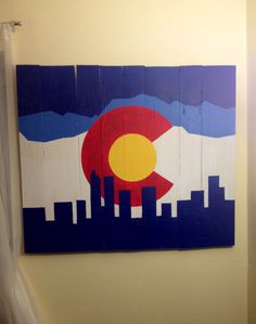 Colorado wood flag. I make these custom and with a quick turn around. Email jfrance2@gmail.com if you are interested in price or designs. Thank you  Paint wood Colorado flag pallet art home decor skyline mountains Denver downtown
