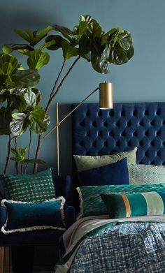 Canvas+Sasson new range: Jaipur meets Cuba meets Palm Springs! - The Interiors Addict Home Decor Bedroom, Blue Rooms, Bedroom Makeover, Apartment Decor, Bedroom Interior, Home, Home Bedroom, Home Decor, Luxurious Bedrooms