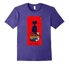Men's Cat And Books Ex Libris Book Plate T-Shirt For Book Lovers