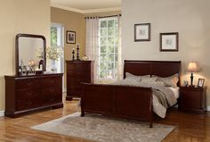 light cherry wood bedroom furniture sets elegant classic design ideas with unique mirror and table lamp matching wall painting two color natural rustic hardwood flooring and soft carpets Bedroom Sets For Sale, King Size Bedroom Sets, Wood Bedroom Sets, Wood Bedroom Furniture, Furniture Design, Bedroom Ideas, Furniture Ideas, Rustic Furniture, Furniture Online