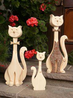 Deko Katzen, Holz Katzen, Schr