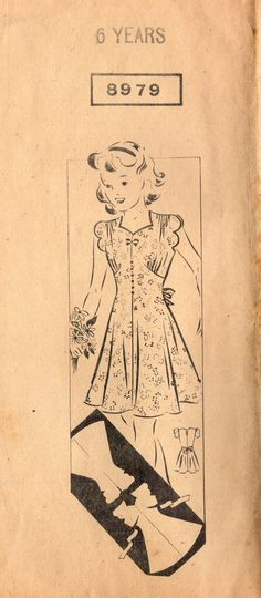 1930s Mail Order 8979 Vintage Sewing Pattern Girls Party Dress Size 6