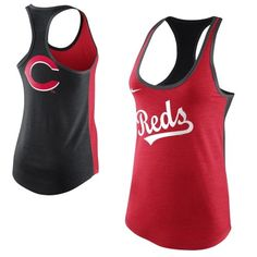 Nike Cincinnati Reds Women's Tri-Blend Loose Fit Racerback Tank - Red/Black