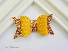 Bow Hair Clip - Baby Hair Bow - Mustard Bow Hair Clip - Glitter Bow Clippie - Glitter Bow Hair Clip by AvaBowtiquee on Etsy