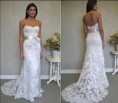 New white/ivory lace wedding dress Gown custom size 2-4-6-8-10-12-14-16-18-20-22...maggie ?? with purple ribbon?