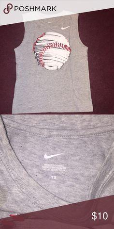 7765b5d4b9de Nike Little Boys Gray tank top w baseball graphic
