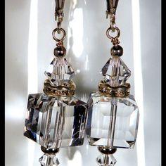 Crystal Clear Swarovski Cube Earrings. Lustrous Crystal Clear  Swarovski a Crystal Earrings. Sterling Silver Leverback earwire. Crystals by Swarovski Jewelry Earrings