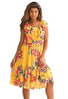 Roamans Women's Plus Size Fit And Flare Empire Waist Sundress Denim 24/7 (Sunset Roamans To purchase just click on Amazon right here http://www.amazon.com/dp/B00B8XV9YE/ref=cm_sw_r_pi_dp_gr5Qtb1RW58PYYNS