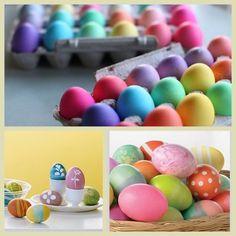 Com um simples tingimento e pinturas simples os ovos deixam a páscoa mais alegre