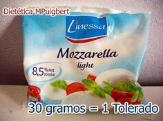 Mozzarella apta Dukan (30 gramos = 1 tolerado), en Lidl. Foto de Dietetica MPuigbert en su página de Facebook