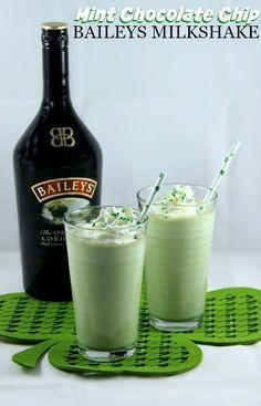 nice Mint Chocolate Chip Baileys Milkshake perfect for St. Patty's Day...