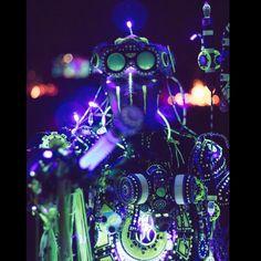 Enki, Techno Shaman @SaguaroMan 2015 #costume#cosplay #saguaroman #art #cyber #cybertech #led #lighting #progenitortech #uv #blacklight #glow #glowinthedark #future #futureprimitive #staff #goggles #burningman