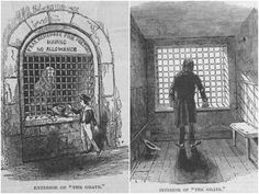 The Grate was a cell in the former Fleet Prison (which stood near Farringdon Street in London) from which the poorest prisoners were permitted to beg. London Football, Places To Rent, London History, Lonely Heart, London Underground, The Cell, London City, Being A Landlord, The World's Greatest