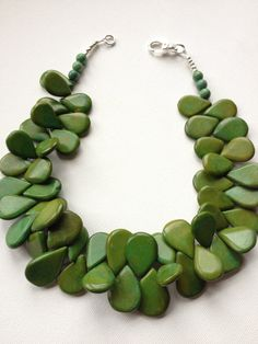 NEW Spring Fling necklace - preppy green teardrop howlite bead statement necklace. $75.00, via Etsy.