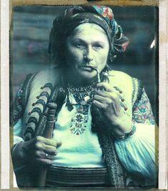 Hutsul woman smoking pipe , photo by Y Bilak, W Ukraine ,from Iryna