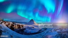 Stock Photo : Spectacular northern lights appear over Mount Kirk