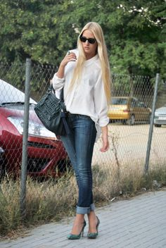 Fashion Flair Love the casual look of rolled up jeans with unique heels 9497 |2013 Fashion High Heels|