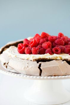 Chocolate Pavlova with Mascarpone Whipped Cream and Raspberries