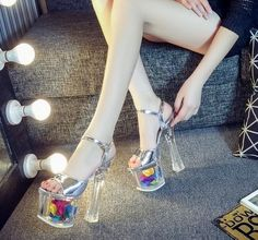 Womens Platform Open Toe Clear High Heels Ankle Strap Buckle Crystal Sandals G