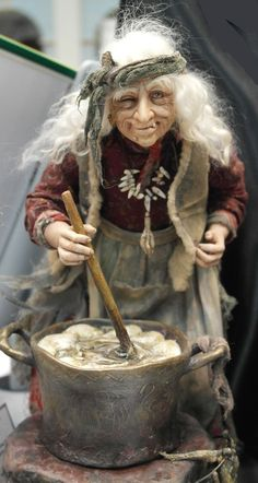 Scarf to hide hairline! Kobold, Witch Cat, Halloween Doll, Polymer Clay Dolls, Fairy Art, Fairy Dolls, Ooak Dolls, Miniature Dolls, Caricatures